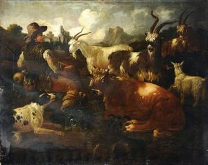 Philipp Peter Roos - Landscape with Goats and Cattle