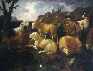 Philipp Peter Roos - Landscape with Sheep