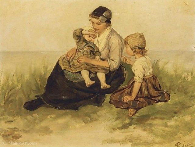 A mother and her children in the dunes by Philippe Lodowyck Jacob Sadee (1837-1904, Netherlands)