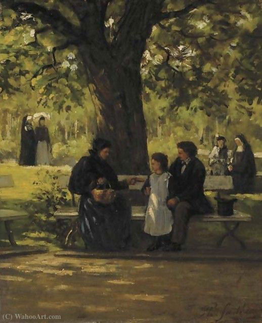 On a park bench by Philippe Lodowyck Jacob Sadee (1837-1904, Netherlands)