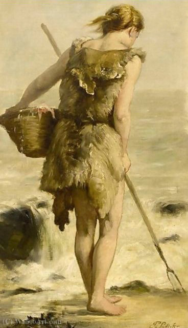 Shell fisher by Philippe Lodowyck Jacob Sadee (1837-1904, Netherlands)