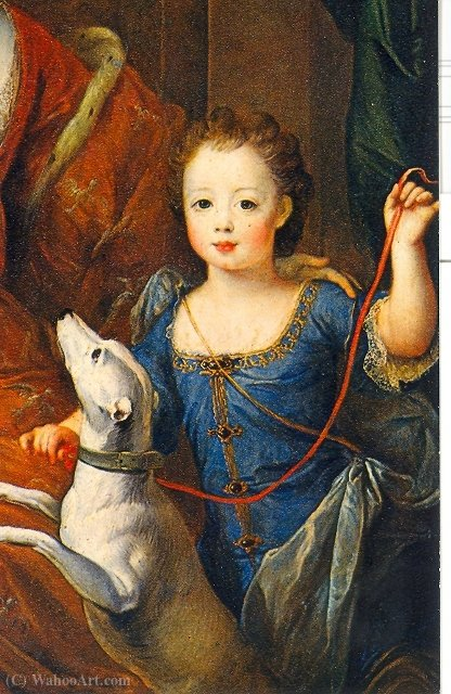 A painting of Élisabeth Charlotte d`Orléans and her son, Louis by Pierre Gobert (1662-1744, France) | Museum Quality Reproductions | WahooArt.com