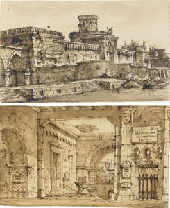 Pietro Di Gottardo Gonzaga - A courtyard with walls bearing plaques, busts and other motifs, and a crenellated fort with a canal in the foreground