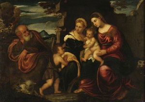 Polidoro Da Lanciano - Holy Family with the Infant Saint John Baptist and Saint Catherine