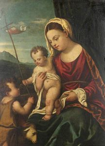 Polidoro Da Lanciano - Madonna and Child with the Infant Saint John
