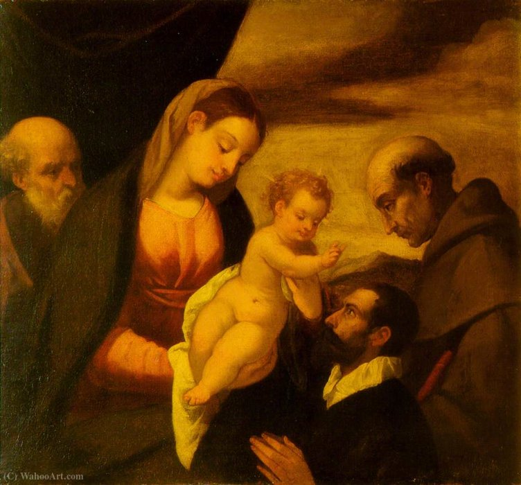 Madonna and Child, Saint Francis and Saint Joseph with a Donor by Polidoro Da Lanciano (1515-1565, Italy) | Famous Paintings Reproductions | WahooArt.com