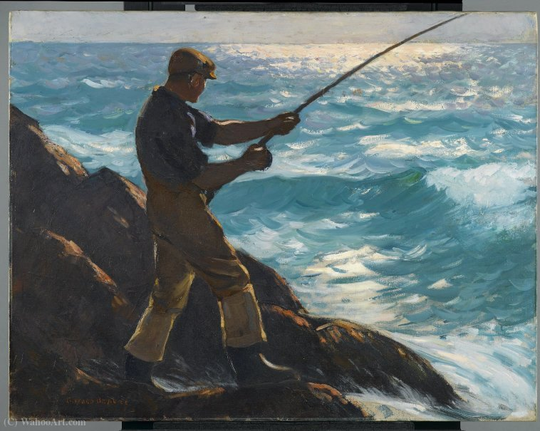 The fisherman by Reynolds Beal (1866-1951, United States) |  | WahooArt.com