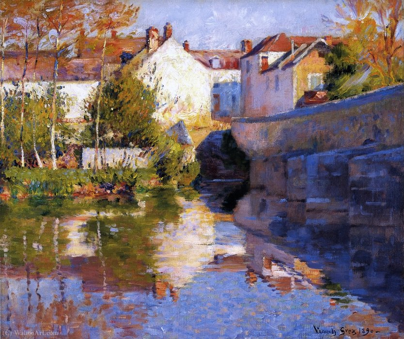 Beside the River (Grez) by Robert William Vonnoh (1858-1933) | Reproductions Robert William Vonnoh | WahooArt.com