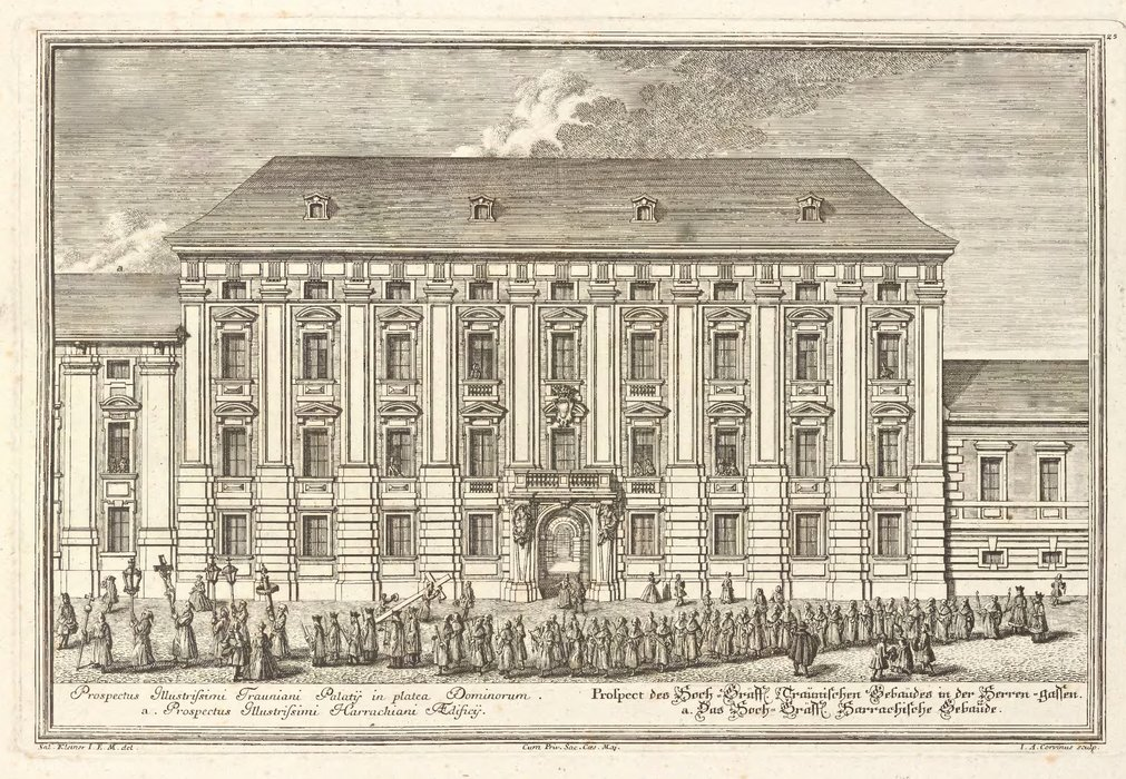 Prospect of high-Gräff Lichen maid niche building in Herrengasse by Salomon Kleiner (1700-1761, Germany) | Art Reproductions Salomon Kleiner | WahooArt.com