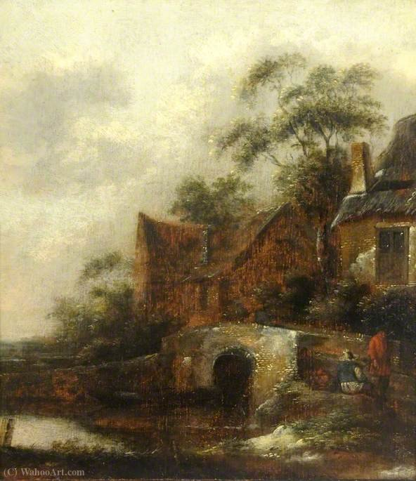 Order Oil Painting : A River Scene with Figures by Salomon Rombouts (1655-1710, Netherlands) | WahooArt.com