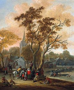 Salomon Rombouts - A Village Fair with a Mummer in the Foreground