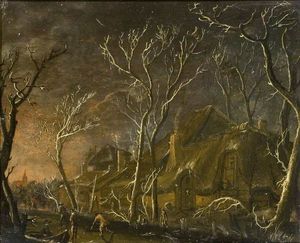 Salomon Rombouts - A Winter Scene at Night