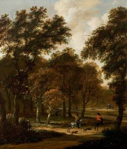 Salomon Rombouts - Wooded Landscape with a Stag Hunt