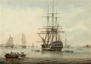 Samuel Atkins - A British frigate at anchor with other shipping in the distance