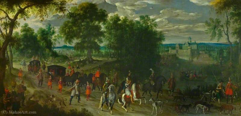 Landscape with Members of the House of Orange Returning from a Hunt by Sebastian Vrancx (1573-1647, Belgium)