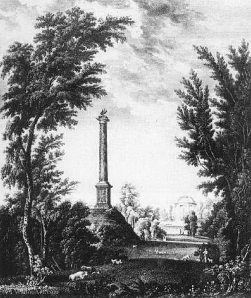 Form the columns and the temple on the other side of the pond in the garden city of Gatchina by Semyon Fyodorovich Shchedrin (1745-1804, Russia)