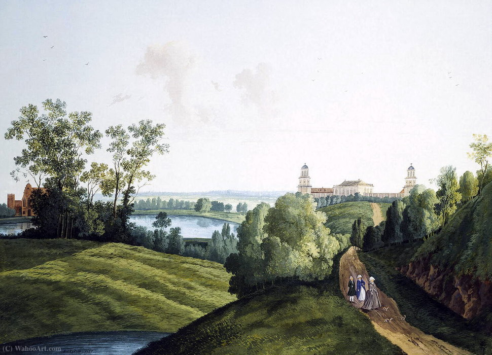 The landscape in the Park with a view of the farm by Semyon Fyodorovich Shchedrin (1745-1804, Russia) | Famous Paintings Reproductions | WahooArt.com