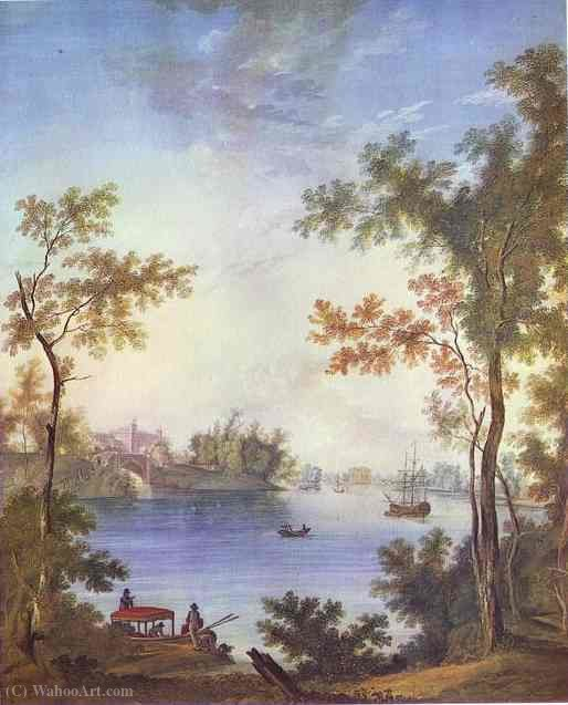 View on the Gatchina Palace from the Silver Lake by Semyon Fyodorovich Shchedrin (1745-1804, Russia)