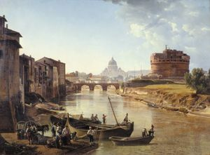 Sil-vestr Fedosyevich Shchedrin - view of the Tiber river and the Castel Sant-Angelo