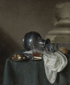 Simon Luttichuijs - A still life with a pewter jug on its side, a glass of ale, a salt cellar, a bread roll and other objects on a table draped in a dark green cloth