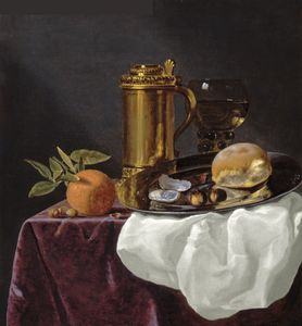 Simon Luttichuijs - Tankard with Oysters, Bread and an Orange resting on a Draped Ledge