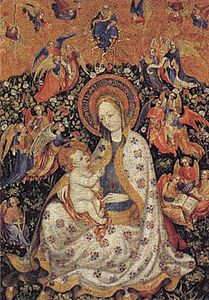 Stefano Da Zevio - The Virgin and Child with Angels in a Garden with a Rose Hedge