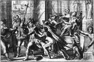 Theodor Matham (Dirck Matham) - Assassination attempt on King Sigismund III Vasa by Michał Piekarski in (1620.)