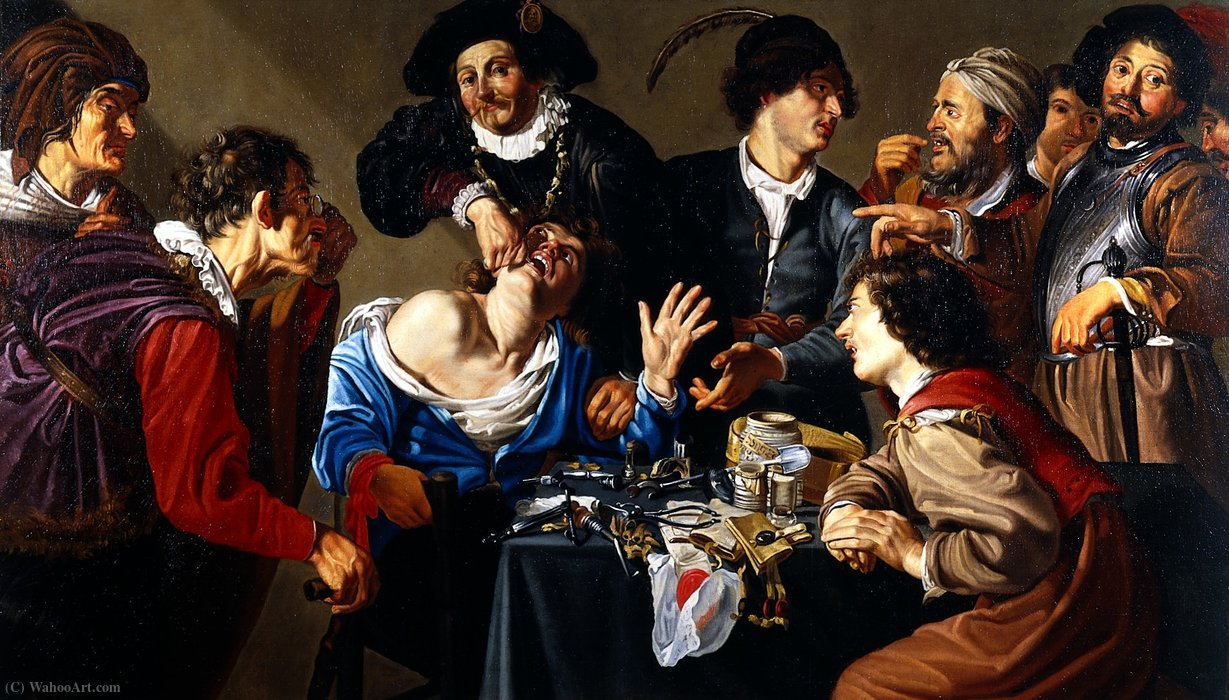 An operator extracting a tooth by Theodor Rombouts (1597-1637, Belgium) | Oil Painting | WahooArt.com