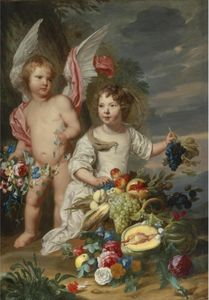 Theodor Van Thulden - Double Portrait of a girl and a girl as Cupid and Ceres next to a Stil life of fruits and flowers