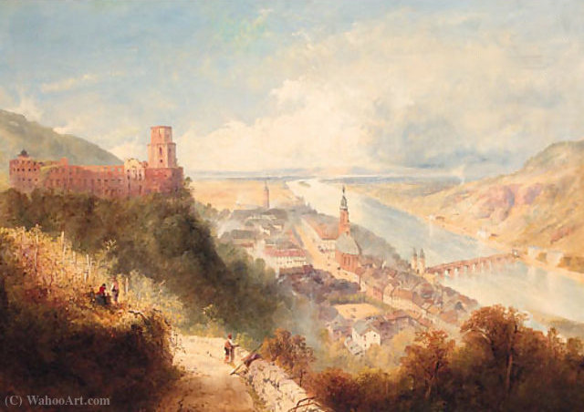 Castle and Town of Heidelberg, Germany by Thomas Charles Leeson Rowbotham (1782-1853, United Kingdom) | WahooArt.com
