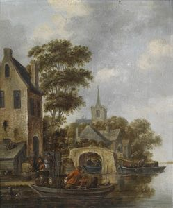 Thomas Heeremans - River landscape with a ferry, with signature remains