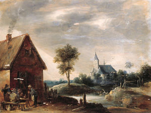 Thomas Van Apshoven - Boors playing at cards outside an inn, a church by a river beyond