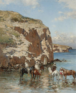 Victor Pierre Huguet - Rest at the water's edge
