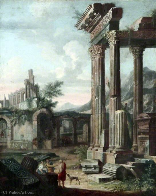 Classical Ruins with Figures in the Evening by Viviano Codazzi (1604-1670, Italy)