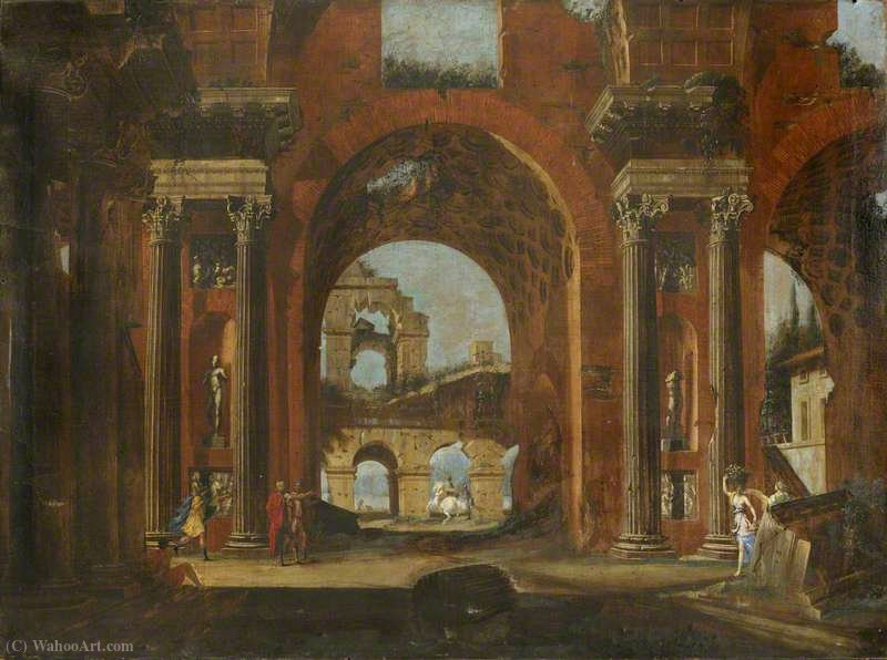 Classical Ruins, Horseman and Figures by Viviano Codazzi (1604-1670, Italy) | Famous Paintings Reproductions | WahooArt.com