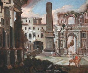 Viviano Codazzi - Town Scene in Italy with Ancient Ruins