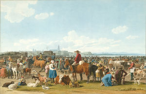 Wilhelm Von Kobell - Cattle Market before a Large City on a Lake