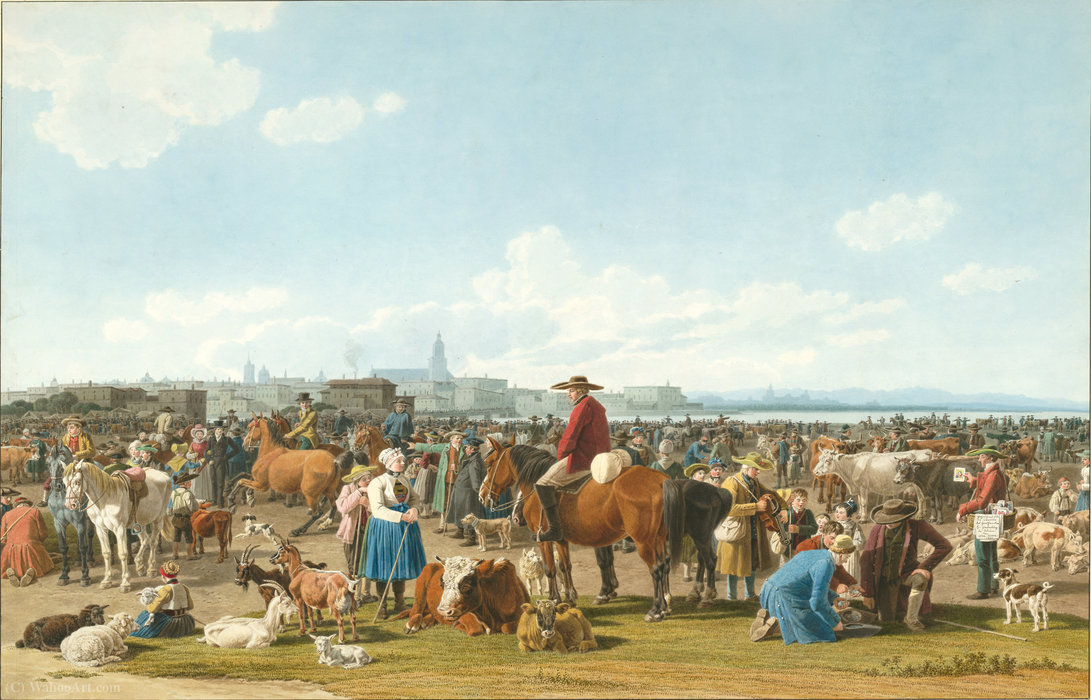 Cattle Market before a Large City on a Lake by Wilhelm Von Kobell (1766-1853, Germany)