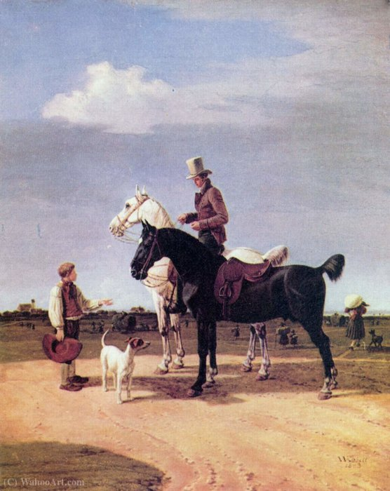 Riders with two horses by Wilhelm Von Kobell (1766-1853, Germany)