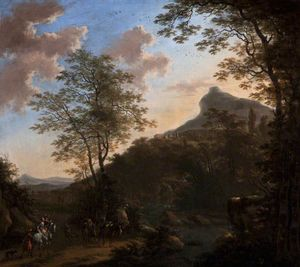 Willem De Heusch - Hilly Landscape with Figures and Horses near a Bridge over a River