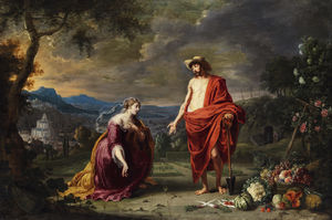 Willem Van Herp - Jesus as a gardener before kneeling Mary Magdalene.
