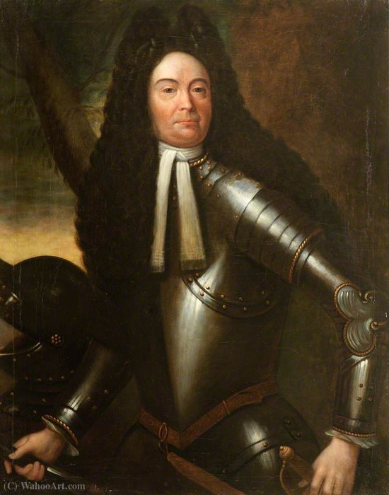 Portrait of an Unknown Gentleman in Armour by Willem Wissing (1656-1687, Netherlands) | Art Reproductions Willem Wissing | WahooArt.com