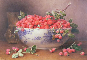 William Hough - Still Life of Raspberries in a Blue and White Bowl