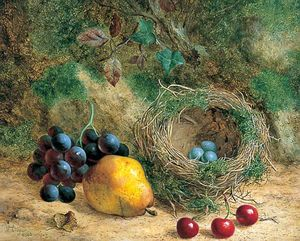 William Hughes - Still Life with Bird's Nest and Fruit