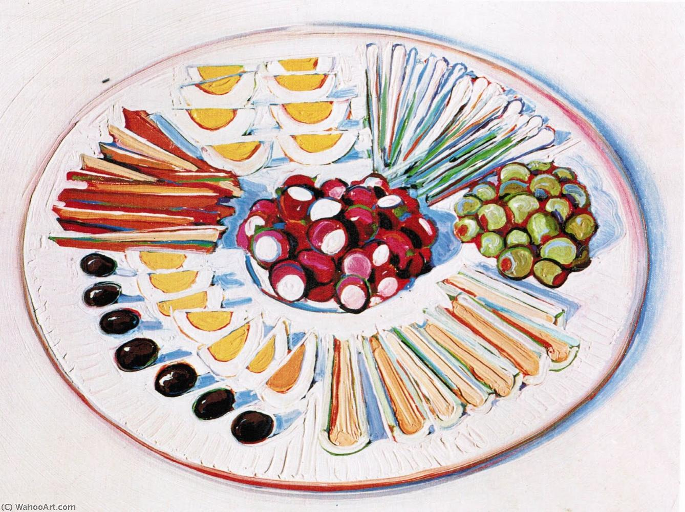 Plate of hors d oeuvres by Wayne Thiebaud | Painting Copy | WahooArt.com
