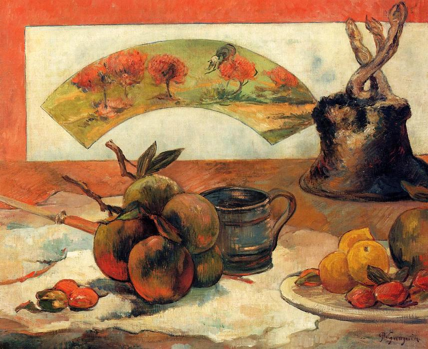 Still Life with Fan, 1887 by Paul Gauguin (1848-1903, France) | Oil Painting | WahooArt.com