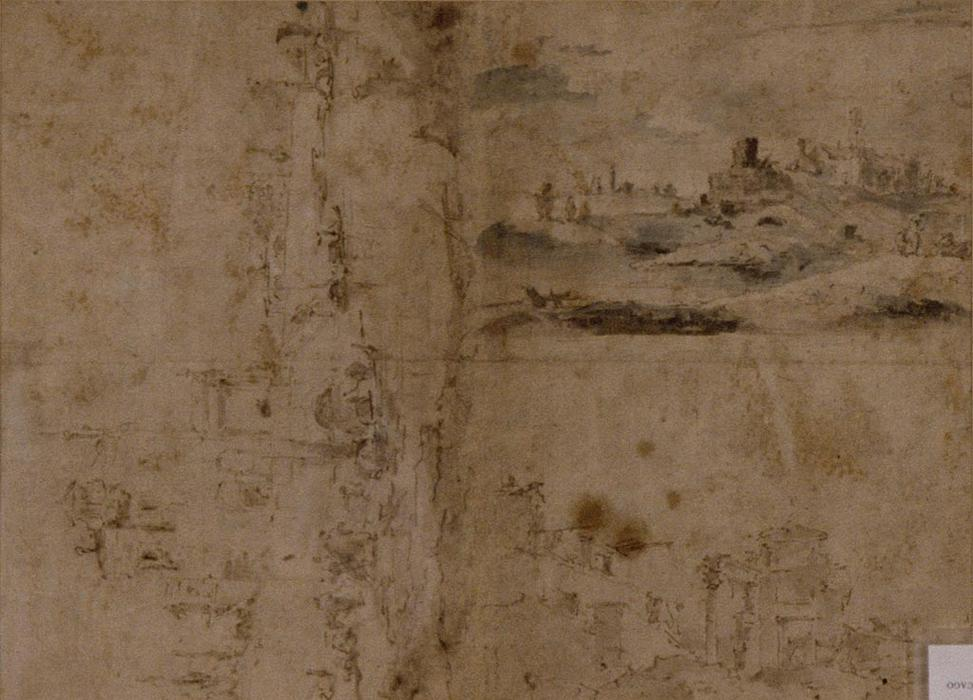Three Sketches. Buildings by Canal with Boats, Landscape with Buldings on Hillside, Buildings with Portico by Francesco Lazzaro Guardi (1712-1793, Italy) | Famous Paintings Reproductions | WahooArt.com