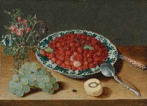 Isaak Soreau - A Still Life with Strawberries in a Wan li Porcelain Bowl, a Bunch of Grapes, a Glass Vase with Columbines and Eglantine, a Silver Spoon, An Inlaid Knife and a half Peach with a Fly and Dragon Fly on a Wooden Table Top