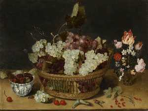 Isaak Soreau - Still Life with Chinese Bowl and Vase of Flowers