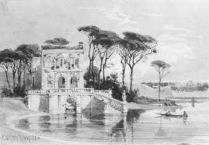 Carl (Friedrich Heinrich) Werner - Italian Lake Scene with Villa (from Cropsey Album)